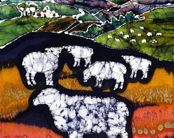 "Sheep At Midnight - 16"" x 20""  art fabric from original batik - Quilting"
