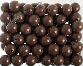 20mm - 10 PACK of Chocolate Brown 20mm Gumball Beads, Chunky Acrylic Beads, 20mm Chunky Beads, 20mm Beads, 2MM Hole