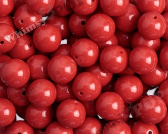 20mm - 5 or 10 PACK of Cherry Red Gumball Beads, Bubblegum Beads, 20mm Chunky Beads, 20mm Beads, 20mm Gumball Beads, 2.5mm Hole