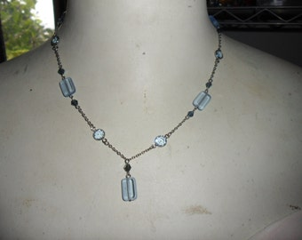 Authentic Vintage Beautiful SIGNED EXPRESS Delicate Light Blue Glass And Crystal Necklace, FREE Postage