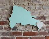 """Wooden Wedding Guestbook -Dominican Republic 24"""" Distressed Waterfall, Coral Heart, Punta Canta, Destination Weddings"""