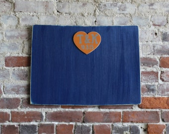 Custom Wooden Wedding State Guestbook- 2 ft Wyoming in Distressed Royal Blue- any state/country available in many colors