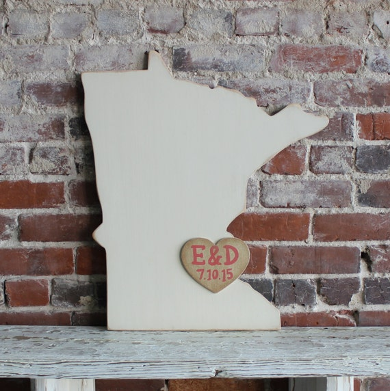 Custom Wooden State Wedding Guestbook - 2 ft Minnesota in Distressed Ivory - any state/country available in many colors