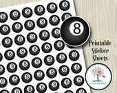 Printable Stickers, 8 Ball, Instant Download, Planner Stickers, Day Planner, Printable, Planner Accessories, Pool, Calendar Stickers