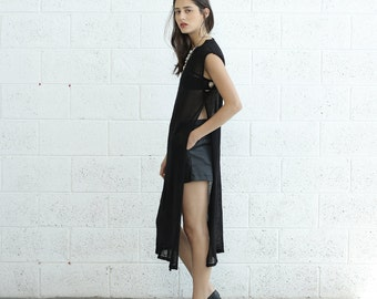 Knit Dress, Side Slits dress, Black.