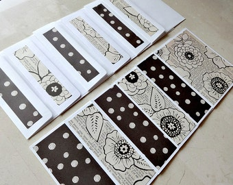 Blank Note Card Set, Set of 6 Blank Note Cards with Matching Envelopes, Thank You Cards, Black and White Cards, Cards for Her, Floral Cards