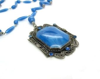 Art Deco Czech Necklace. Long Blue Satin Glass Necklace. Rhinestone & Silver Filigree. Antique Necklace. 1920s Vintage Art Deco Jewelry.