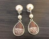 0g Dangle Plugs 4g, 2g Gauged Earrings 00g Tribal Pattern Teardrop Plugs 6g Ear Plugs, Pearl Cap Dangly Wood Plugs or Acrylic Body Jewelry