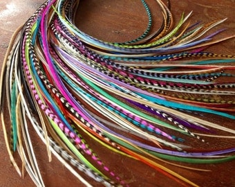 16 Pcs Loose Hair Feather Extensions Natural And Dyed Mixed Pack, Feather Hair Extensions Long Hair Accessories Crimp In