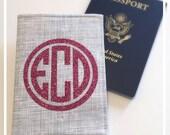 Personalized Passport Cover , Glitter Circle Monogram , Hot Pink , Black , Glam Wedding , Bridesmaid Gift , International Travel Wallet