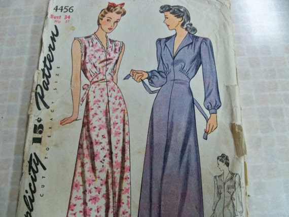 1942 Simplicity 4456 Size Bust 34 Hip 37 Casablanca-Style Womens Nightgown Sewing Pattern Vintage Sewing Pattern Supply Lana Turner Gown