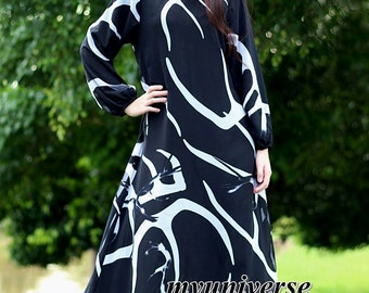 Black Dress Long Sleeves Dress Maxi Dress Green Dress Party Coast Chiffon