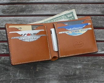 GARNY- 8 Pocket Classic Billfold Wallet from vegetable dyed leather - Whiskey color- bl