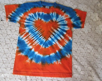 "SALE!!  Tie dye YOUTH LARGE shirt- ""Orange Heart with Blue"" 200"