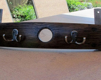 Recycled Wine Barrel Stave Coat and Hat Rack