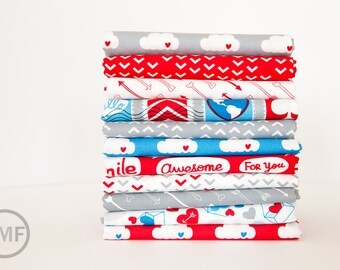 Airmail Fat Quarter Bundle, 11 Pieces, Eric and Julie Comstock, Moda Fabrics, 100% Cotton Fabric