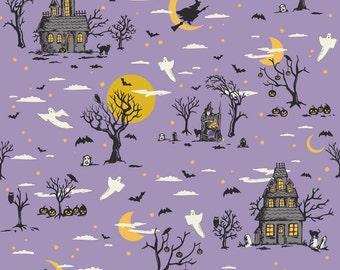 Happy Haunting Houses in Purple, Deena Rutter, Riley Blake Designs, 100% Cotton Fabric, C4670-PURPLE