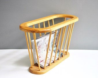 Mid-Century Oval Magazine Rack - Wooden Magazine Rack