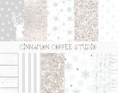 Sparkle Winter Digital Paper, Winter Texture, Winter White Backgrounds, Silver Sparkle Texture, White Backgrounds, Winter Paper Pack,
