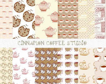 Coffee Love Digital Paper Set, Brown Coffee Cappuccino Digital Background, Coffee Patterns
