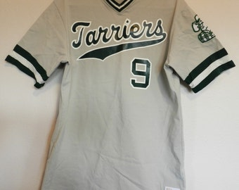 vintage Tarriers Baseball Jersey 70s Charles Wright Academy High School sports gear Mens Large gray #9