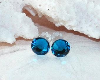 Crystal Stud Earrings Blue Earrings Stud Earrings Post Earrings Teal Earring Swarovski Crystal Earrings Bridesmaid Earrings Bridesmaid Gift
