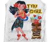 "Tank tee shirt one piece body suit tshirt Vintage inspired childrens tshirt ""Tiki Girl"""