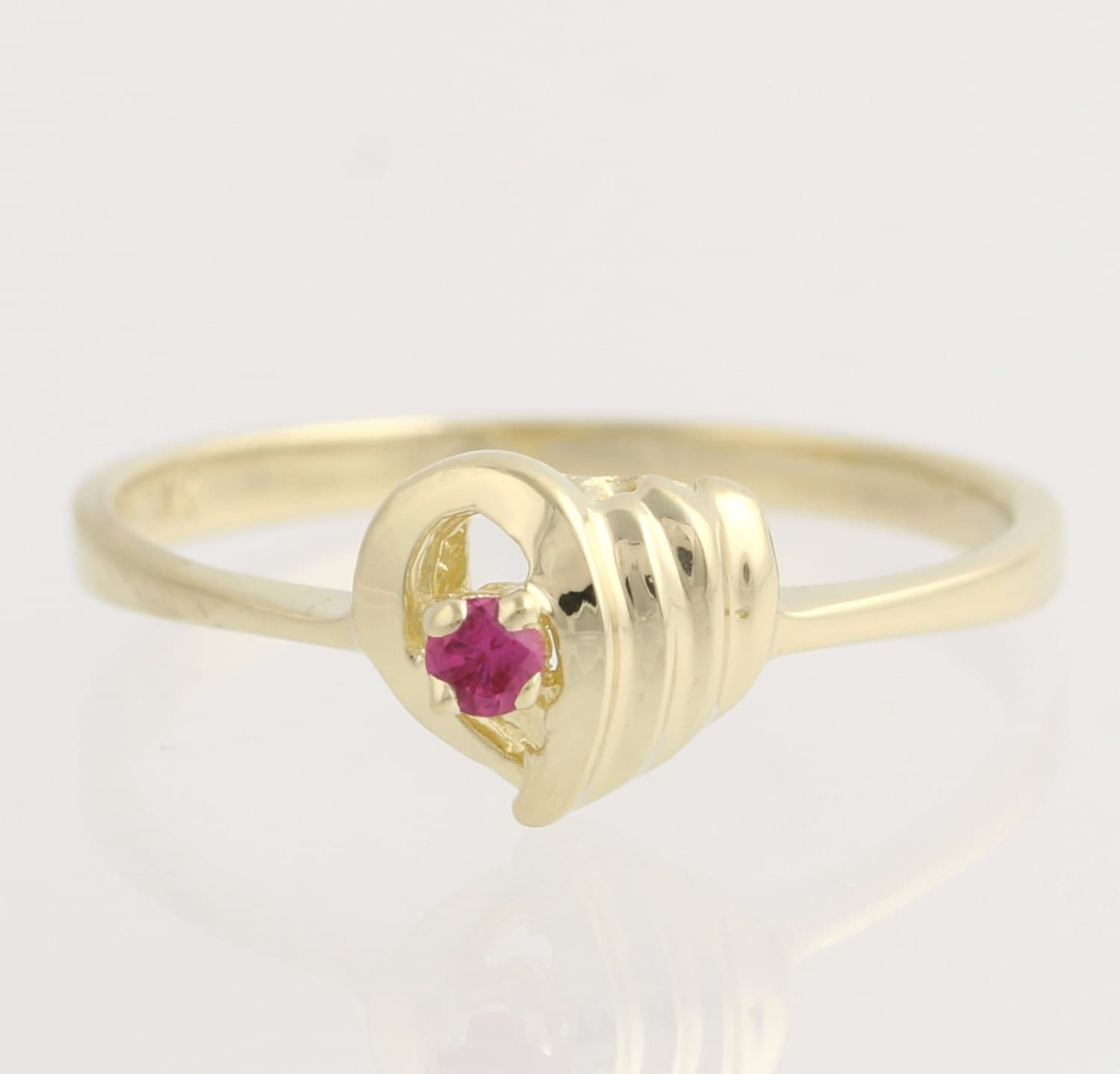 synthetic ruby promise ring 14k yellow gold by wilsonbrothers