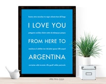 Argentina Vacation Poster, Latin America Heritage, Buenos-Aires Unique Travel Gift, I Love You From Here To ARGENTINA, Shown in Azure Blue