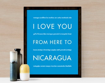 Nicaragua Travel Art Print, I Love You From Here To NICARAGUA, Shown in Azure Blue - Honeymoon Poster Vacation Gift