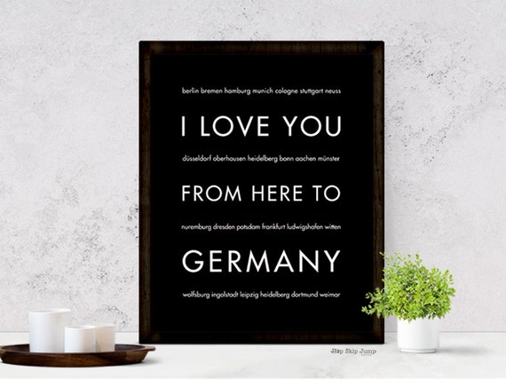 Germany Travel Art Print, I Love You From Here To GERMANY, Shown in Black - Choose Color, Canvas Poster