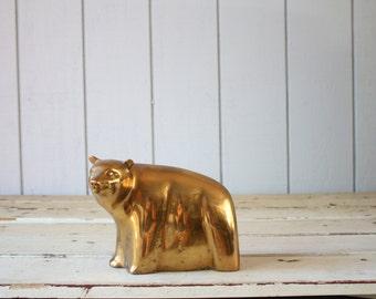 Vintage Brass Bear // Solid Brass Paperweight