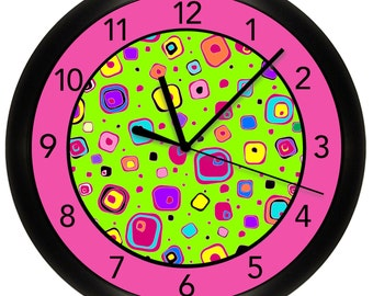 Pink, Green and Blue Colorful Wall Clock for Girl's Bedroom