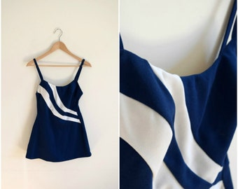 Vintage mid century navy blue and white bathing suit / Robby Len one piece swimsuit / pinup style skirted swimsuit / retro swimwear