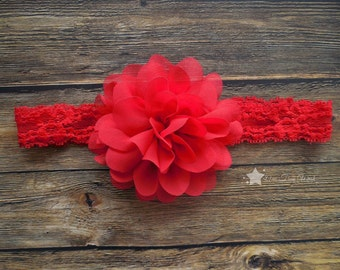 Red headband, baby lace headband, baby headband, infant headband, newborn headband, baby girl, newborn girl, lace headband, headband infant