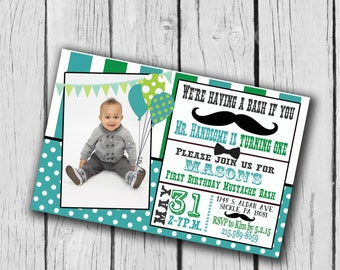 Mustache Bash Party Invitation...Printable...DIY...5x7 or 4x6...Print at home...Birthday...Colors customizable