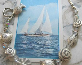 Thai Silver and Swarovski Crystal Ocean Charm Bracelet