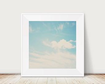 blue sky photograph white clouds photograph landscape photography travel photography blue home decor nursery wall art sky print cloud print