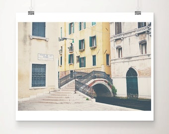 Venice photograph travel photography bridge photograph Italian decor canal photograph Venice print teal door photograph