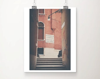 Venice photograph Venice print travel photography street photography sign photograph red home decor red shutter photograph