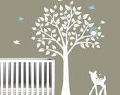 Nursery Tree Decal - Vinyl Wall Decals - nursery decals withTREE , owl, birds & fawn