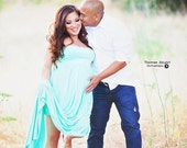 Jade mint Maternity Dress with closed front, Maternity Gown. Maternity Photo Props , Jersey Maternity Gown