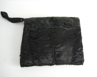 Vintage 1930s Black Lamb Fur Muff Hand Warmer