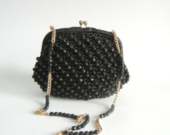 Vintage Purse, Black Vintage Purse, 1950s Straw Purse, Vintage Handbag, Vintage Black Shoulder Bag, Vintage Beaded Purse, Vintage Clutch