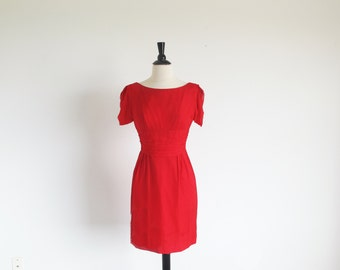 Vintage 60s Red Short Silk Chiffon Cocktail Party Holiday Dress