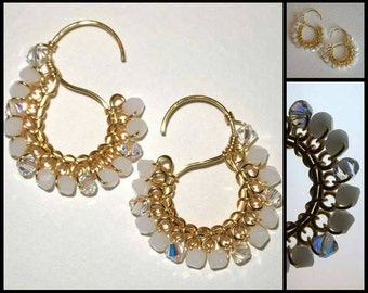 Signature  S  Earrings  with  Swarovski  Crystals  in  White Alabaster