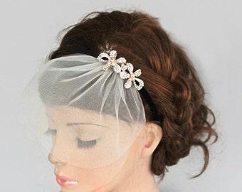 Rhinestone Bridal Head Piece, Mini Tulle Veil Blusher, Headband, Wedding Hair Accessory, Black Velvet, Crystal Headpiece, Handmade