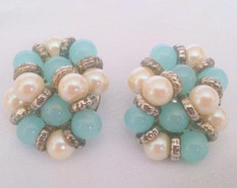 Vintage Blue Bead and Pearl Cluster Earrings