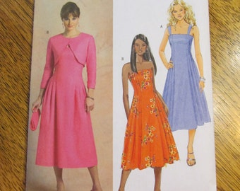 FLATTERING A-Line Dress with Pin Tuck Detail & Shrug / Bolero - Size 6 - 8 - 10 - 12 - UNCUT Sewing Pattern Butterick 4725