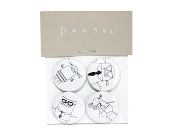 Father's Day Gift Idea, Funny Badge Set, Pin Button Pack, Funny Gift Idea for Dad, Hipster Boyfriend, Tighty Whities Badge, Poosac